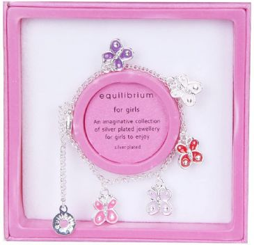 Little Girls First Charm Bracelet, Butterflies,  Silver Plated